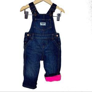 Oshkosh vest back denim fleece lined overalls 9m